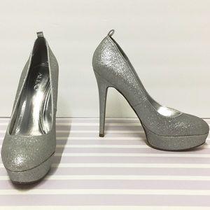 9   39 ALDO Silver Glitter Sparkly Platform Heels